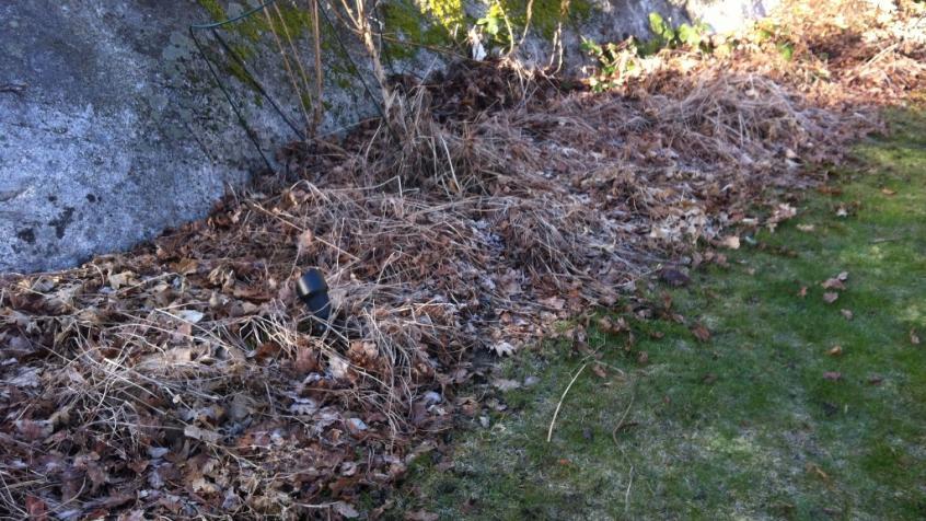 Rabatterna var fulla av löv som behövde räfsas bort