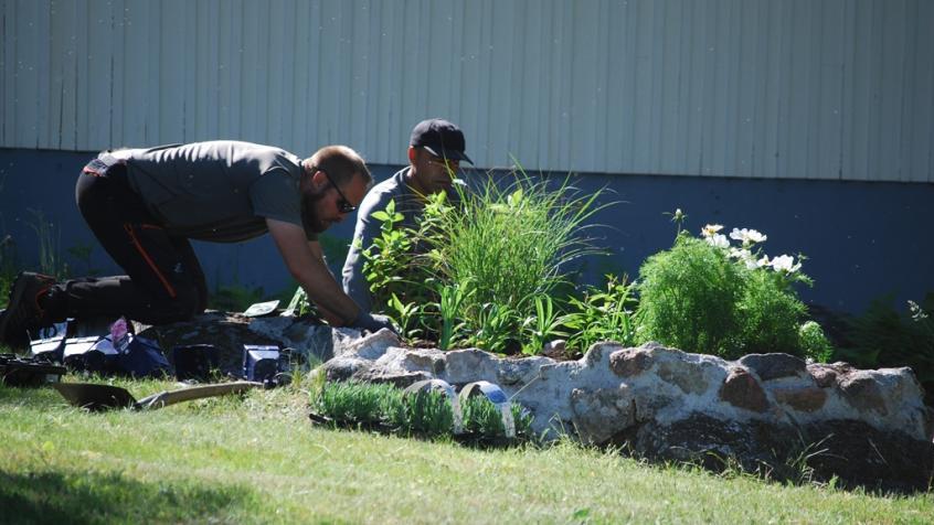 Här tar killarna sig an nästa rabatt och planterar gräs, syrenhortensia, flox, dagliljor och lavendel.
