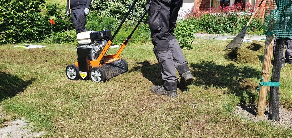 Vertikalskäraren har vertikala knivar som skär skåror i marken så att rötterna skärs av, vilket stimulerar rottillväxten så att gräsmattan blir tätare.