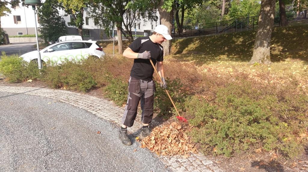 Anders Johansson sköter om kundens planteringar