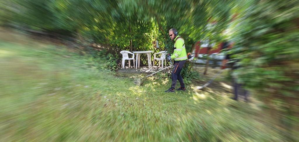 Joel trimmar gräset