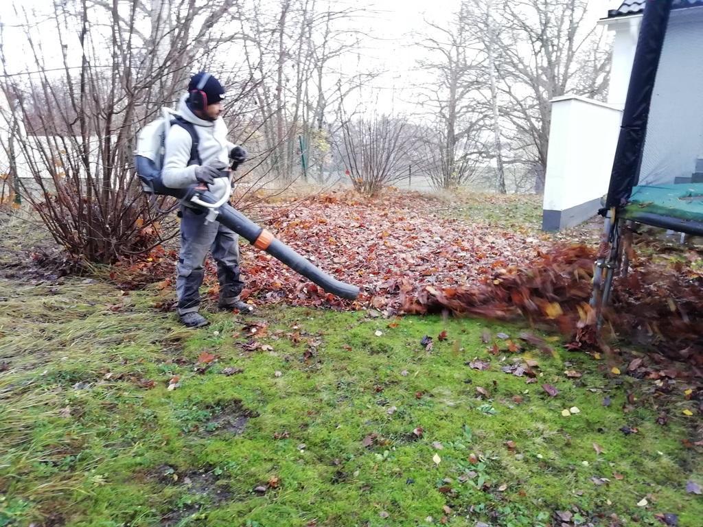 Räfsor är bra men lövblåsar gör det lättare att blåsa fram löv från buskar och under studsmattor osv.