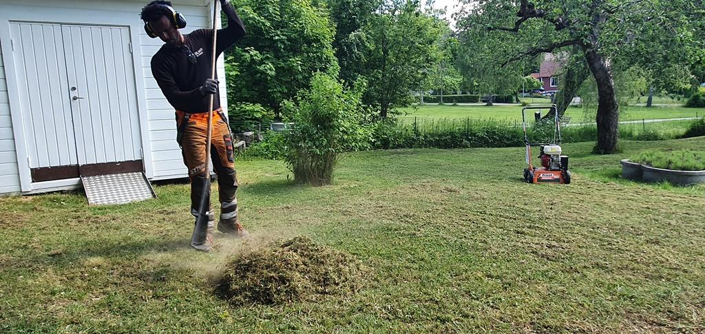 Biemnet räfsar ihop gräset och mossan.